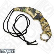 Load image into Gallery viewer, Wooden Design Realtree Camo Fixed Blade Karambit Utility Knife