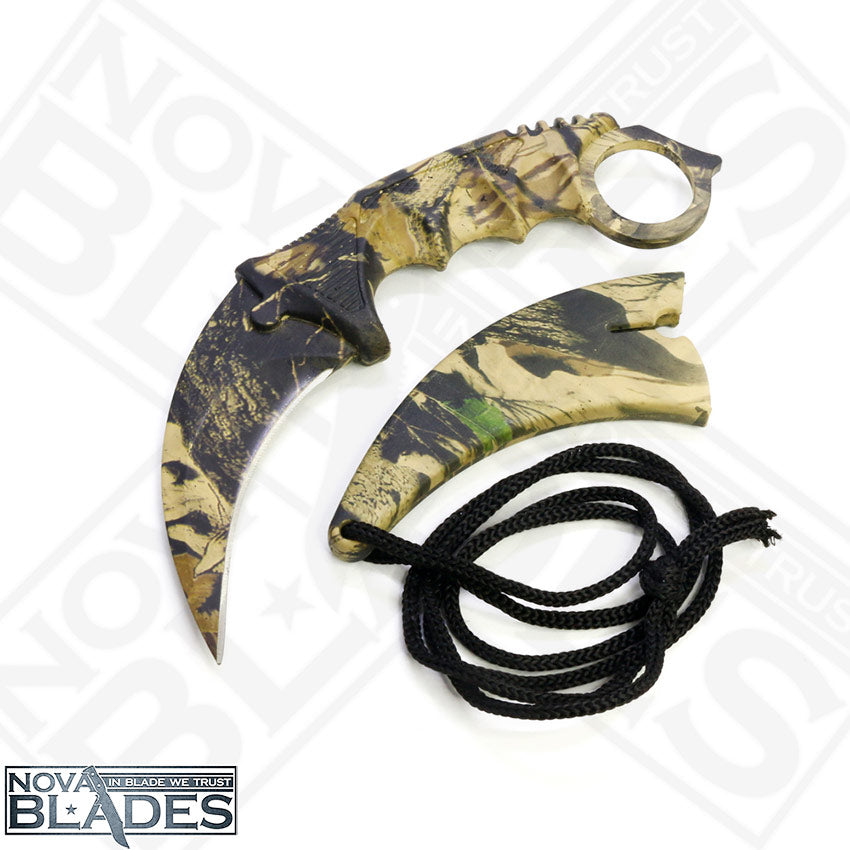 Wooden Design Realtree Camo Fixed Blade Karambit Utility Knife