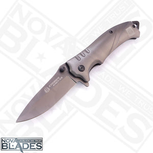FA14 Quick Open Grey Steel Tactical Folding Knife