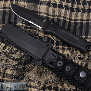 GB-1500 Serrated Blade Fixed Blade Knife with Modular Sheath