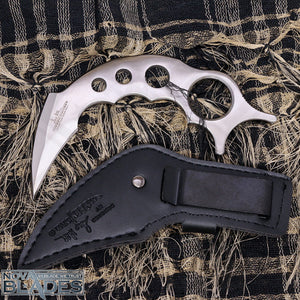 HC2 Claw Stainless Steel Karambit Knife (Skeleton) with Leather Boot Clip Sheath
