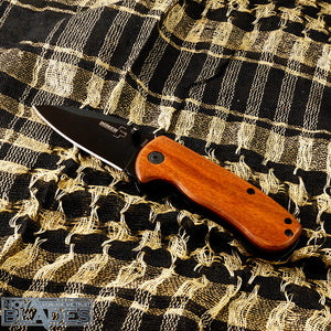 DA66 EDC Mini Folding knife with Wood Handle