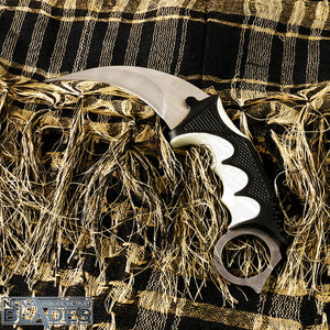 karambit Knife with Black/White Combi handle Stainless Steel Blade