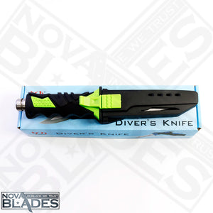 Dk169 Diver's Knife High-Quality Tactical, Stainless Fixed Blade Knife (Green)