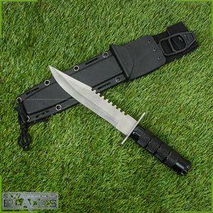 HK-205 Tactical Serrated Fixed Blade Knife with Sheath Survival Kit