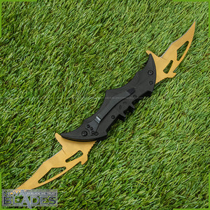"Batman Knife Dual Blades Folding Knife Spring Assisted Blades 11"" Aero Style Blade"
