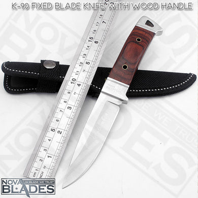 SANJIA K90 Fixed Knife Wooden Handle with  Nylon Sheath