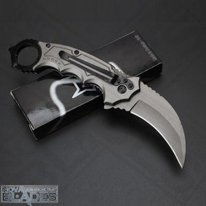 BOGO OFFER: Buy One Get One! FX FA42 Karambit Titanium Coated Blade Wood + Steel Handle Claw Knife