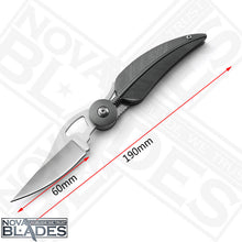 Load image into Gallery viewer, Leaf Design Folding Knife, Aluminum Handle Stainless Steel Blade, Spring Assisted Knife