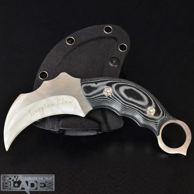Karambit Fixed Blade  knife Scorpion Claw AUS-8A Blade Micarta Handle
