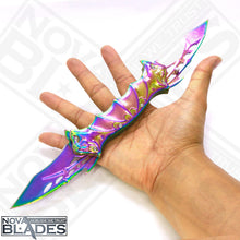 Load image into Gallery viewer, B075 Rainbow Bat Double Blade Steel Pocket Knife