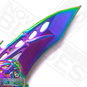 B075 Rainbow Bat Double Blade Steel Pocket Knife