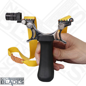 Advanced flat leather Slingshot Powerful Alloy Catapult Hunting Outdoors Shooting Light Equipped with Color lights
