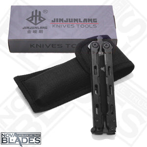 JL-02 Folding Utility butterfly knife Balisong with Nylon Pouch (Black)