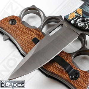 X71 Folding Knuckle Duster Knife (Printed Metal Handle)