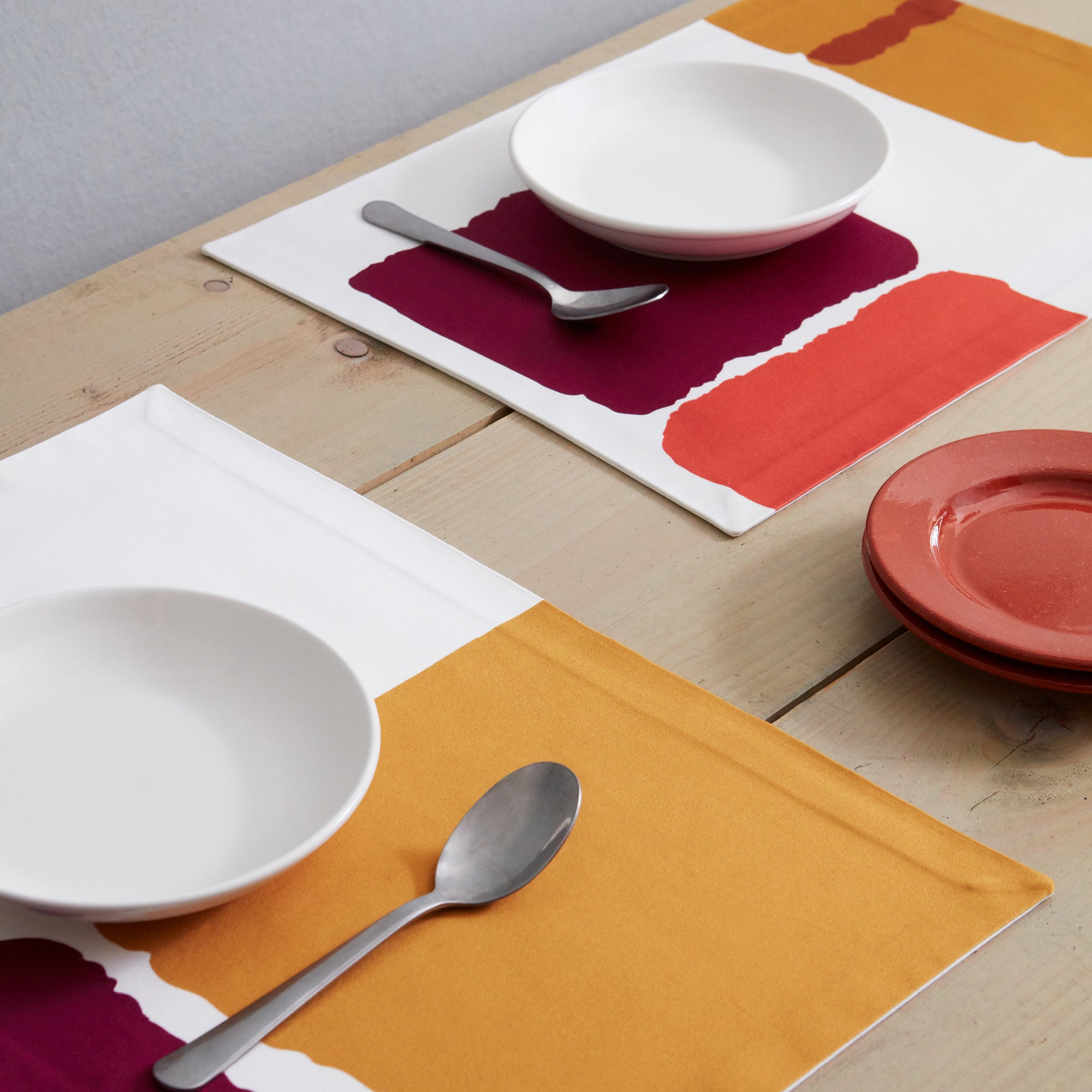 Paul Cotton Placemats Set of 2 in Purple & Ochre