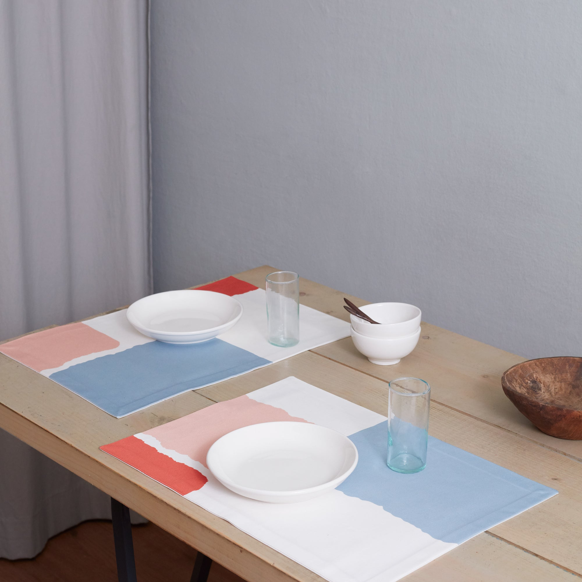 Paul Cotton Placemats Set of 2 Pink Light Blue