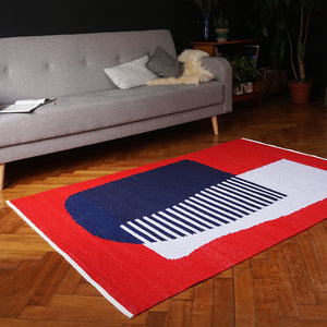 Red Blue White Cotton Rug