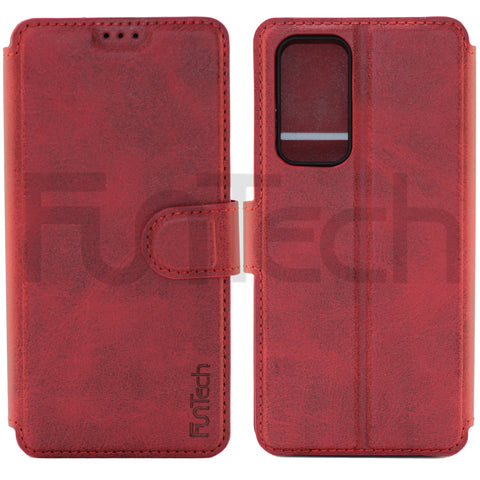 Huawei P40, Leather Wallet Case, Color Red,