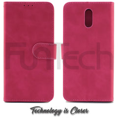Nokia 2.3, Leather Wallet Case, Color Red,