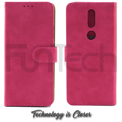 Nokia 2.4, Leather Wallet Case, Color Red,