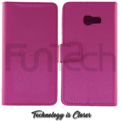 Samsung A3 2017, Leather Wallet Case, Color Pink.
