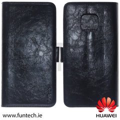Huawei Mate 20 Pro, Leather Wallet Case, Color Black,