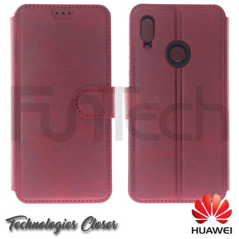 Huawei, P Smart 2019, Leather Wallet Case, Color Red.