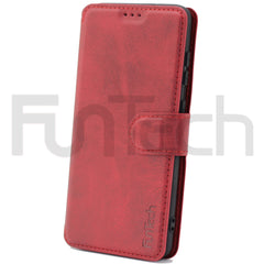 Samsung S21 Ultra, Leather Wallet Case, Color Red