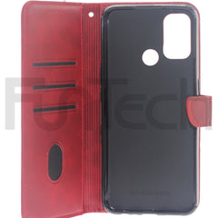 Oppo A53 Lite, Leather Wallet Case, Color Red.
