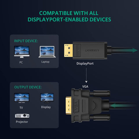 DISPLAYPORT TO VGA CABLE DISPLAY CABLE HIGH RESOLUTION