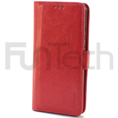 Huawei P30, Leather Wallet Case, Color Red,