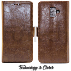 Samsung A6 2018, Leather Wallet Case, Color Brown.