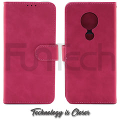 Nokia 6.2 / 7.2 Leather Wallet Case, Color Red,