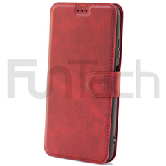 Huawei P40 Lite, Leather Wallet Case, Color Red,