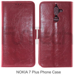 Nokia 7 Plus, Leather Wallet Case, Color Red.