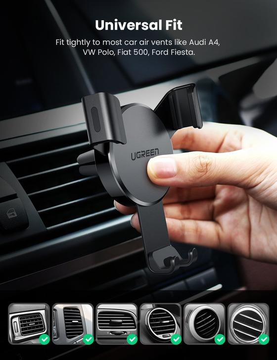 UGREEN Car Phone Holder Air Vent Mobile Mount Gravity Stand Cradle Compatible with iPhone 12 Pro Max/SE/11/XR/XS/8+,Samsung S21 Ultra/S20 FE/S10/S9/A71/A51/A21s,Huawei P30,Xiaomi Mi10,Pixel 4a (Black)