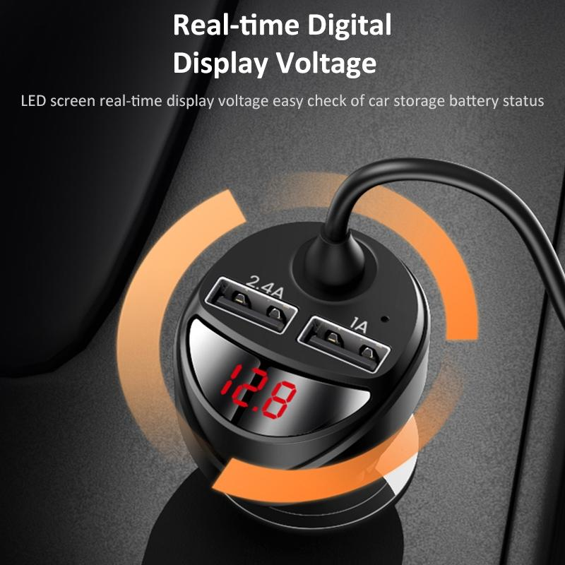 3.4A Dual USB Car Charger With 3in1 Spring Cable | USAMS C22