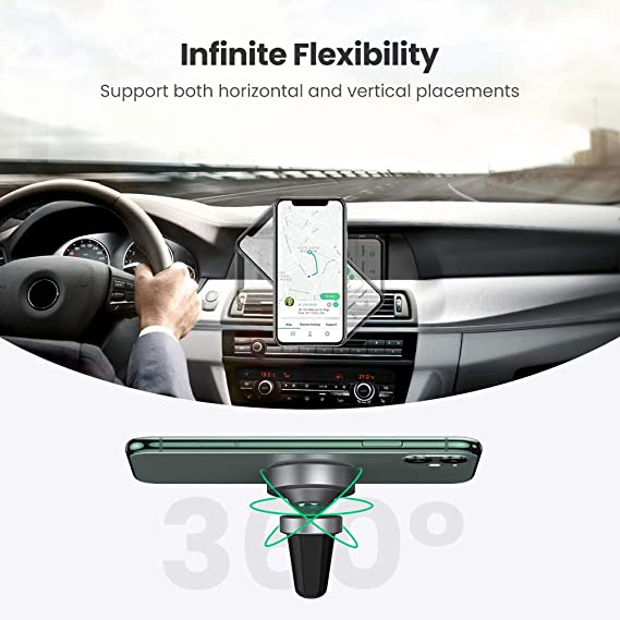 UGREEN Air Vent Magnetic Car Phone Holder 360 Magnet Mount Hands Free Mobile Cradle Stand Clip Compatible with iPhone SE 11 12 XR X 8 7 6,Samsung S20 S10 A71 A51 Note 10,Huawei,Nokia,Google