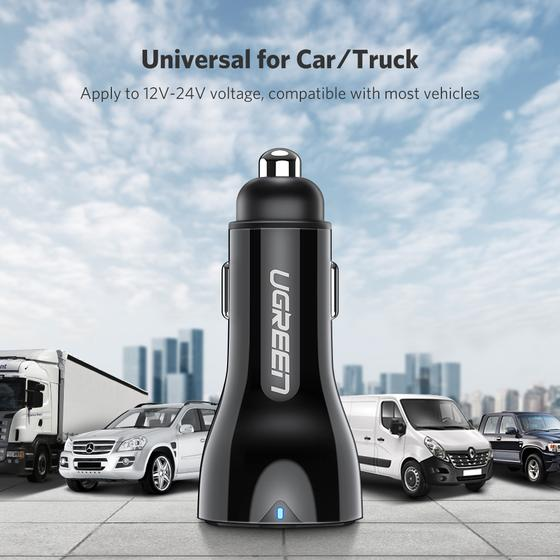 UGREEN Dual USB Car Charger QC3.0 (Black)
