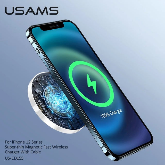 USAMS Super thin Magnetic Fast Wireless Charger for iPhone 12 Series