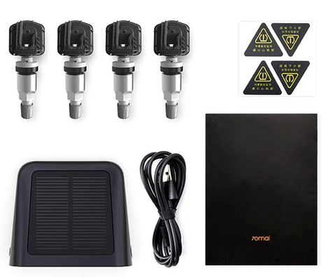 Xiaomi 70mai TPMS Tire Pressure Monitor Solar Power Dual USB Charging 4 Built-in Sensors - Black