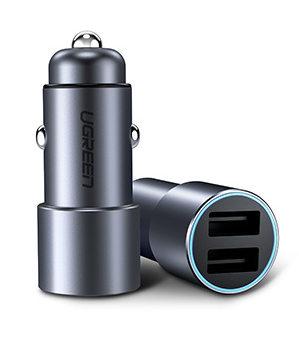 UGREEN Dual Port USB Car Charger (Space Gray)