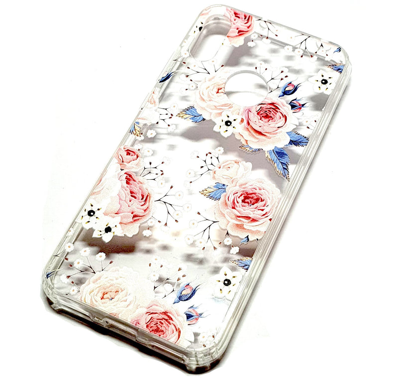 Huawei Y6 2019 decorative clear transparent phone case roses