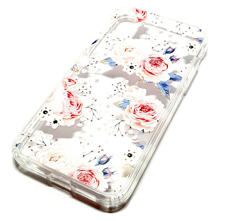 iPhone XR decorative clear transparent phone case roses