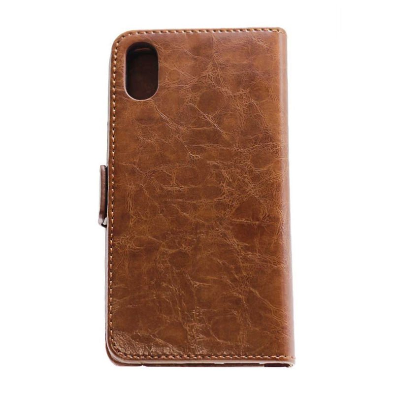 iphone XR leather wallet pouch brown protective case