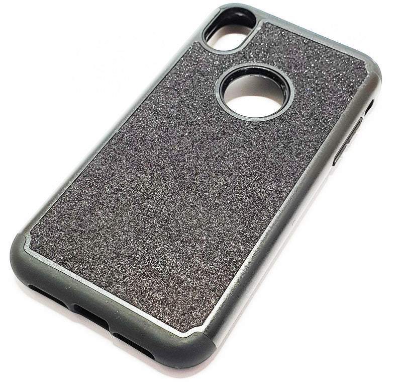 iPhone XR Shockproof black glitter phone case