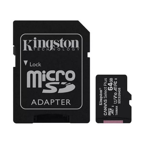 Kingston 64GB Canvas Select Plus micro SD Card (SDXC) + SD Adapter - 100MB/s