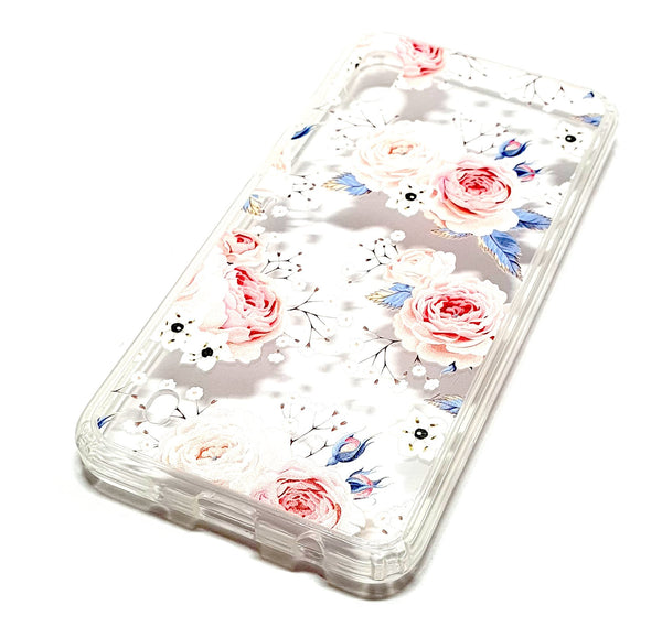 Samsung A10 decorative clear transparent phone case roses