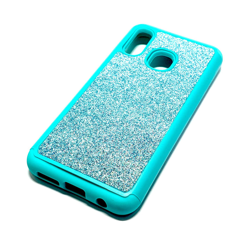 Samsung A20e Shockproof light blue glitter phone case